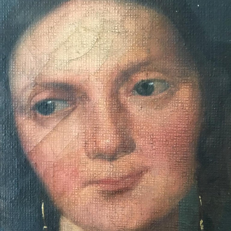 French Naive Oil on Canvas Portrait of a Young Woman For Sale