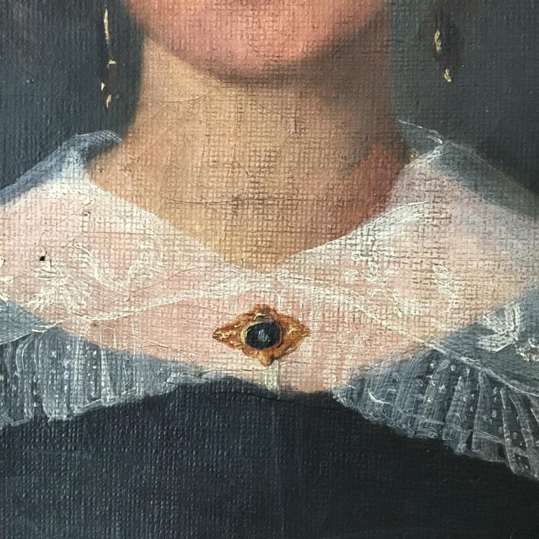 Painted Naive Oil on Canvas Portrait of a Young Woman For Sale