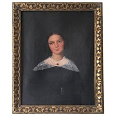 Naive Oil on Canvas Portrait of a Young Woman
