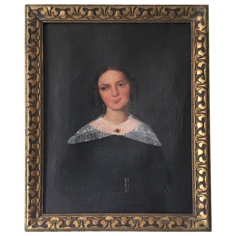 Naive Oil on Canvas Portrait of a Young Woman For Sale