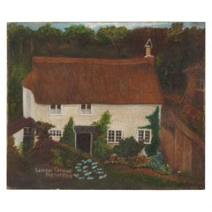 Naive Oil Painting Canvas, English Primitive School Country Cottage 19th Century