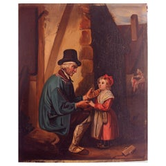 Naive Oil Painting Fairytale French 19th Century Unsigned Artist Marie Pol