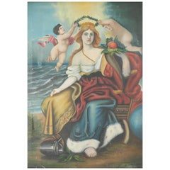 Naive Oleograph 19th Century French Print Oilograph of Warrior Queen and Cherubs