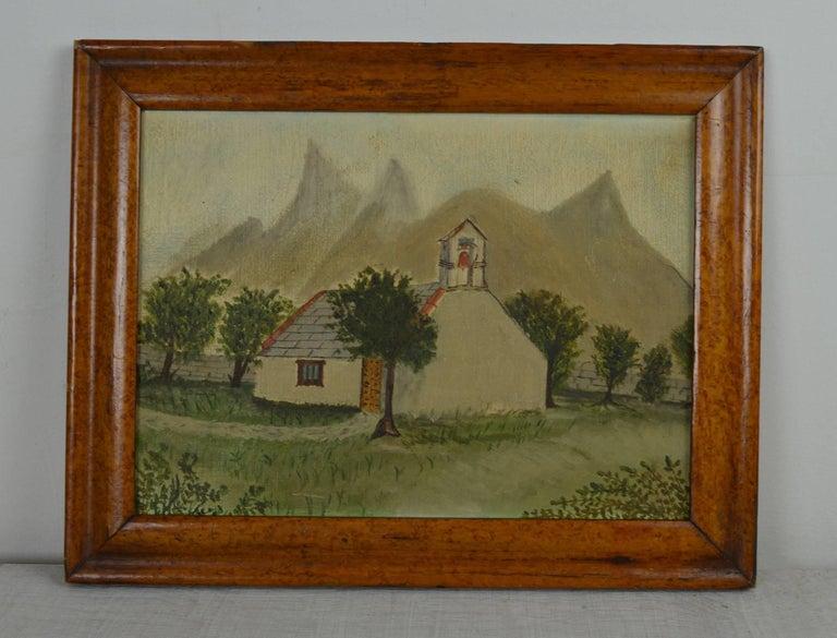 Folk Art Naive Painting of a Church in an Alpine Landscape, Late 19th Century