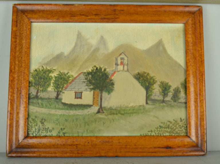 English Naive Painting of a Church in an Alpine Landscape, Late 19th Century
