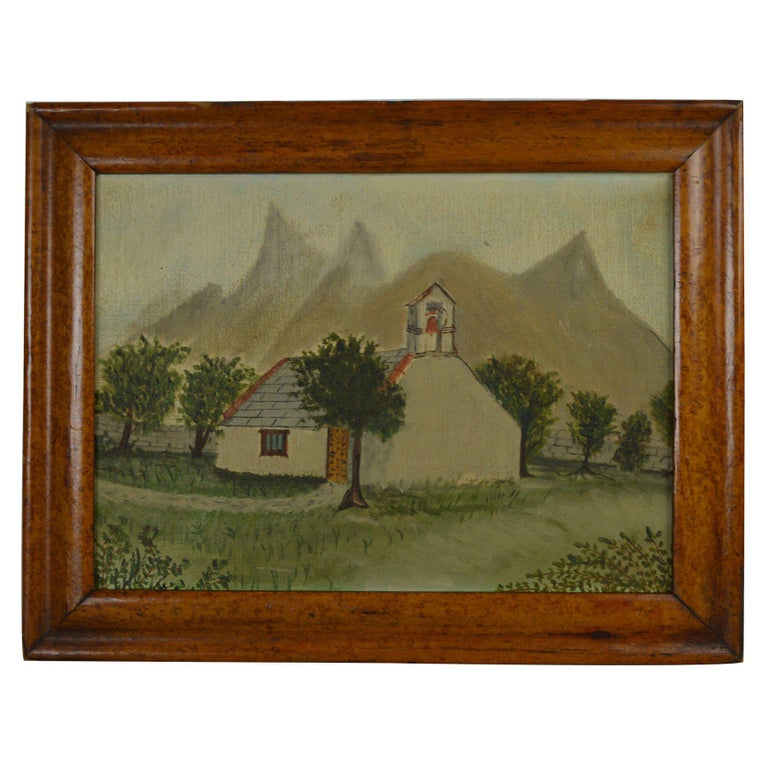 Naive Painting of a Church in an Alpine Landscape, Late 19th Century