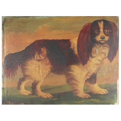 Naive Painting of a King Charles Spaniel, 19th Century