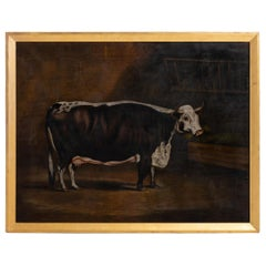 Naive Painting of a Short Horn Cow