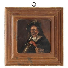 Naive Portrait of a Gentleman with Pipe, English Oil Painting, Oak Panel
