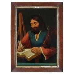 Naive Revese Glass Painting of St. Luke. English, circa 1840