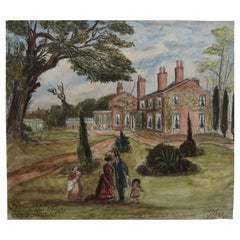 Naive Watercolour Drawing of an English Country House and Garden, C.1850