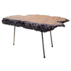 Nakashima Style Burl Wood Tripod Side Table