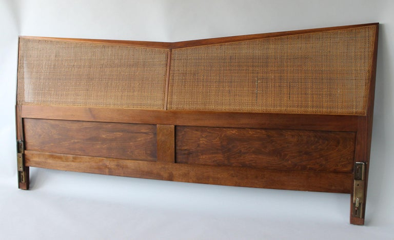 Nakashima Style Walnut and Rattan King Headboard In Good Condition For Sale In Southampton, NY