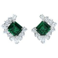 NALLY Emerald and Diamond Ear-Clips