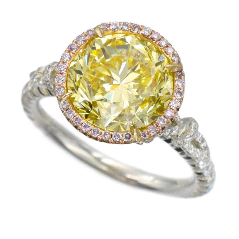 NALLY  GIA Vivid Intense Yellow Color Diamond Ring  For Sale