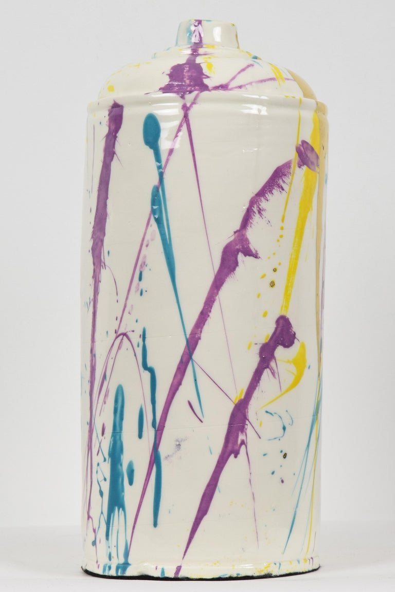 Action Can by Nam Tran (b. 1988)  Porcelain with colour underglaze, transparent glaze and gold lustre 33 x 15.2 x 15.1 cm (13 x 6 x 6 inches) Initialled and numbered 1/1 on the base Executed in 2019  Provenance Studio of the Artist  This work is