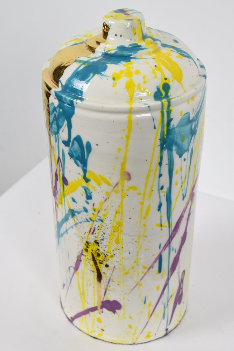 Porcelain spray can sculpture with gold by contemporary ceramicist Nam Tran For Sale 2