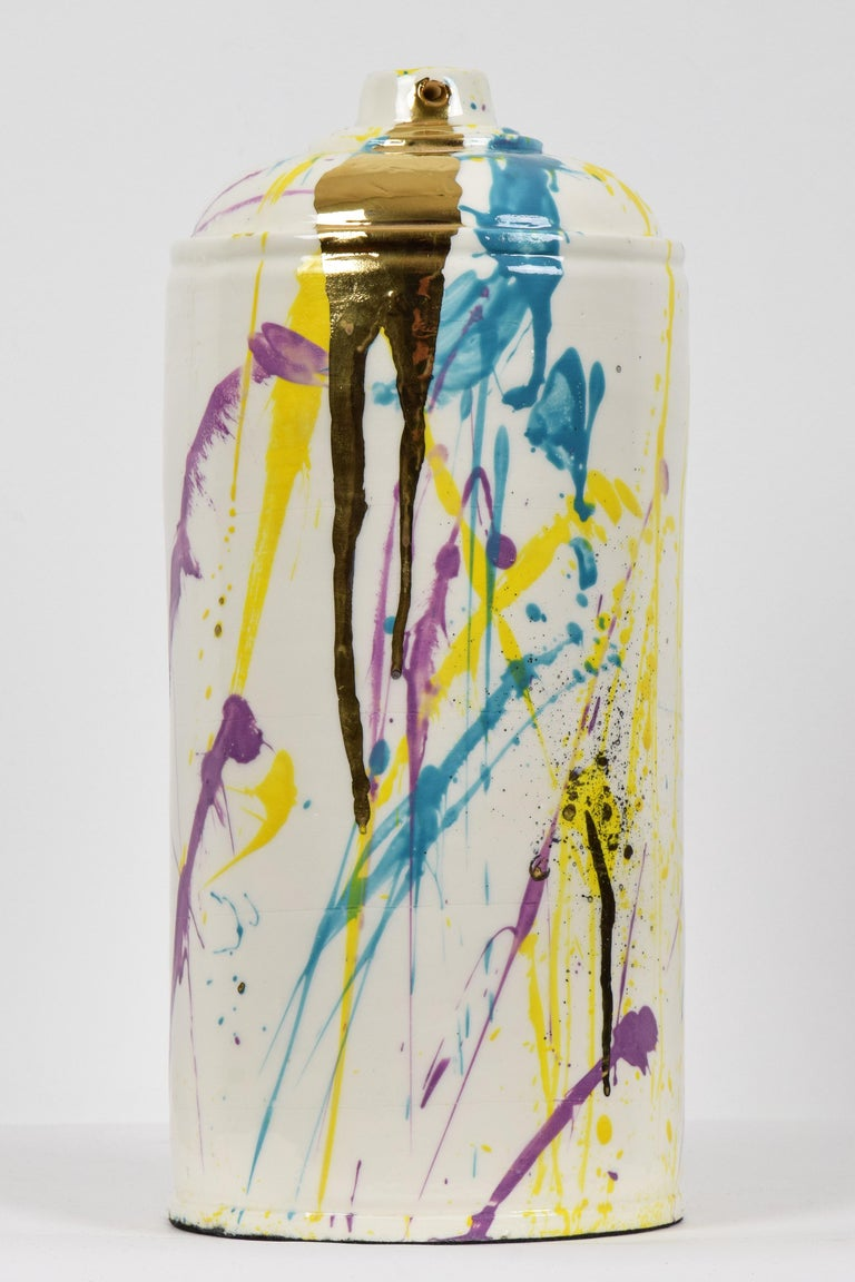 Porcelain spray can sculpture with gold by contemporary ceramicist Nam Tran - Sculpture by Nam Tran