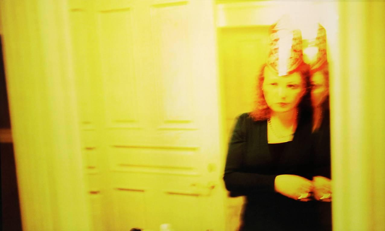 """Self-portrait in party hat, New Year's Eve, """"Renaissance,"""" Malibu"""