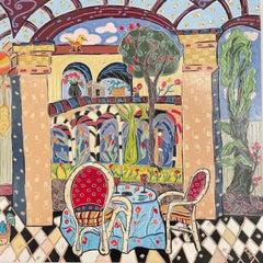 Al Fresco Dining in Opulent Courtyard. Title - Lunch in the Courtyard