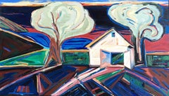 """Boat House"", acrylic painting, landscape, expressionist, blues, greens, reds"