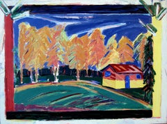 """Cabin in the Woods"", acrylic painting, landscape, trees, fields, reds, blues"
