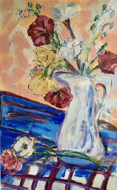 """Carnations for Sally II"", acrylic painting, expressionist, fauvist, bold"