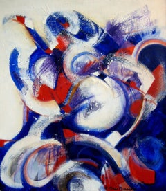 """Celebration"", abstract, acrylic painting, red, white, blue, bold"