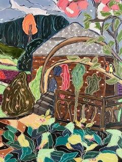 """Cottage In Kensington Gardens"", Nan Hass Feldman, oil, blue, green, red, gold"