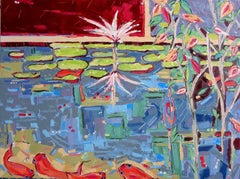 """Into the Pond 1"", oil painting, water, flowers, fish, reds, blues, greens"