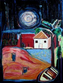 """Night Message"", acrylic painting, house, boat, moon, blue, red, black, green"