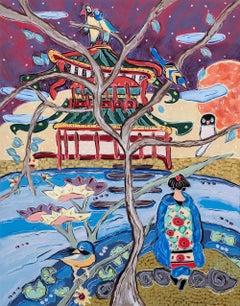 """Princess Akane Prepares to Ford the Sacred Stream"", oil painting, Japan"