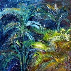 """Stars Above the Garden"", pigment stick, oil painting, blues, greens, yellows"