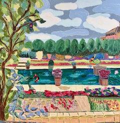 """Strange Pleasures in Overcast Weather"", oil painting, garden, pond, birds, pond"