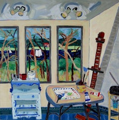"""Studio View Towards the Marsh"", acrylic painting, interior, blues, greens, reds"