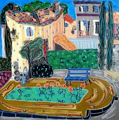"""The Blue Bench in Aix"", oil painting, expressionist, gardens, park, green, blue"