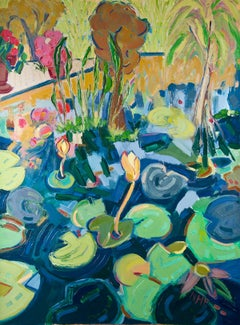 """Waterlilies in the Botanical Gardens"", oil painting, expressionist, blues, pink"
