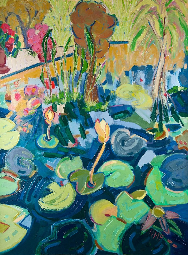 "Nan Hass Feldman Landscape Painting - ""Waterlilies in the Botanical Gardens"", oil painting, expressionist, blues, pink"