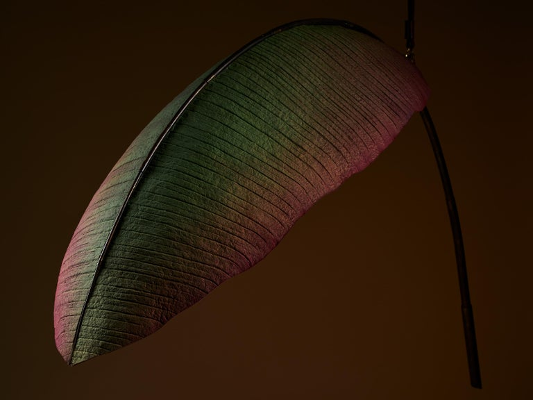 Nana Lure Solid-Leaf Hand-Sculpted Cast Cotton Paper Light by Pelle In New Condition For Sale In New York, NY
