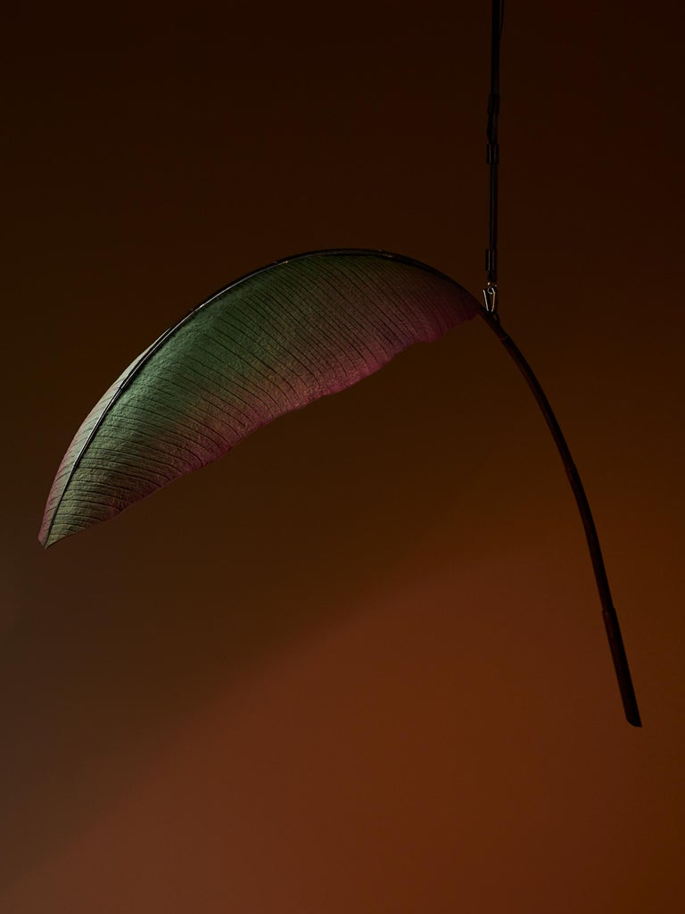 Nana Lure Solid-Leaf Hand-Sculpted Cast Cotton Paper Light by Pelle For Sale 2