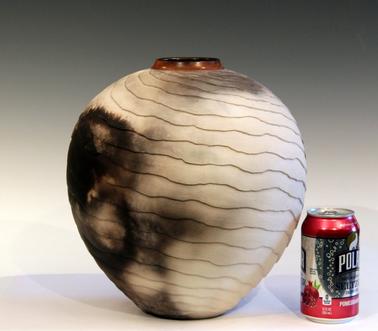 Nancee Meeker Studio Pottery Large Raku Pit Fired Organic Ledges Vase Signed 4
