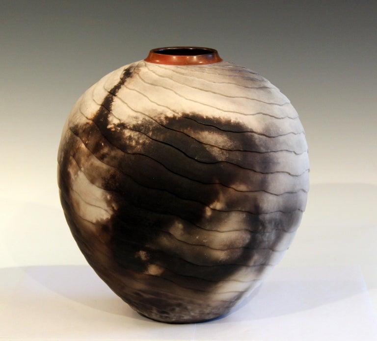 Organic Modern Nancee Meeker Studio Pottery Large Raku Pit Fired Organic Ledges Vase Signed