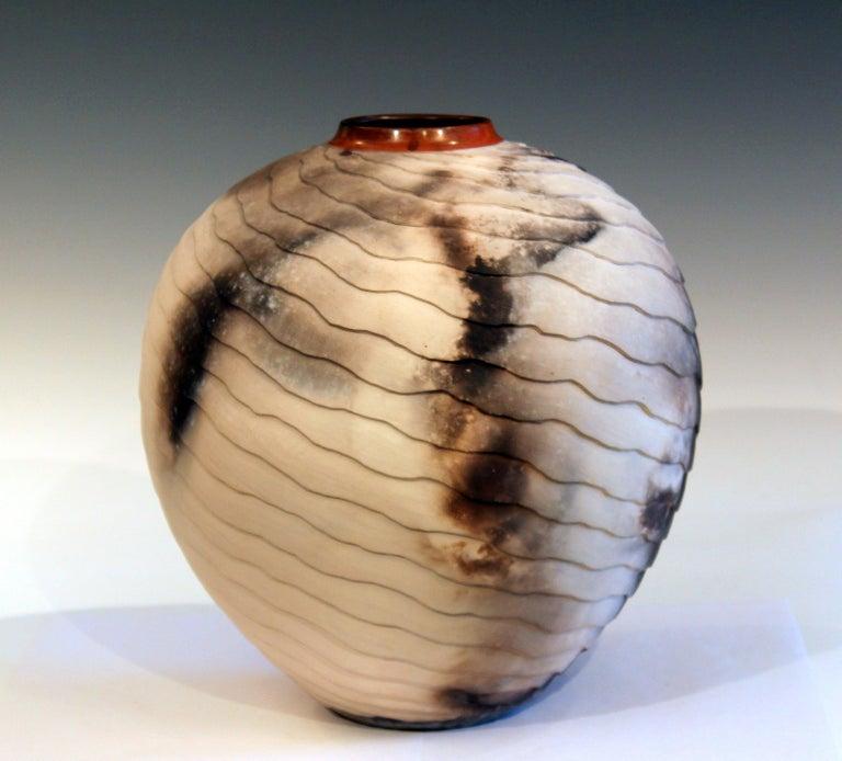 American Nancee Meeker Studio Pottery Large Raku Pit Fired Organic Ledges Vase Signed