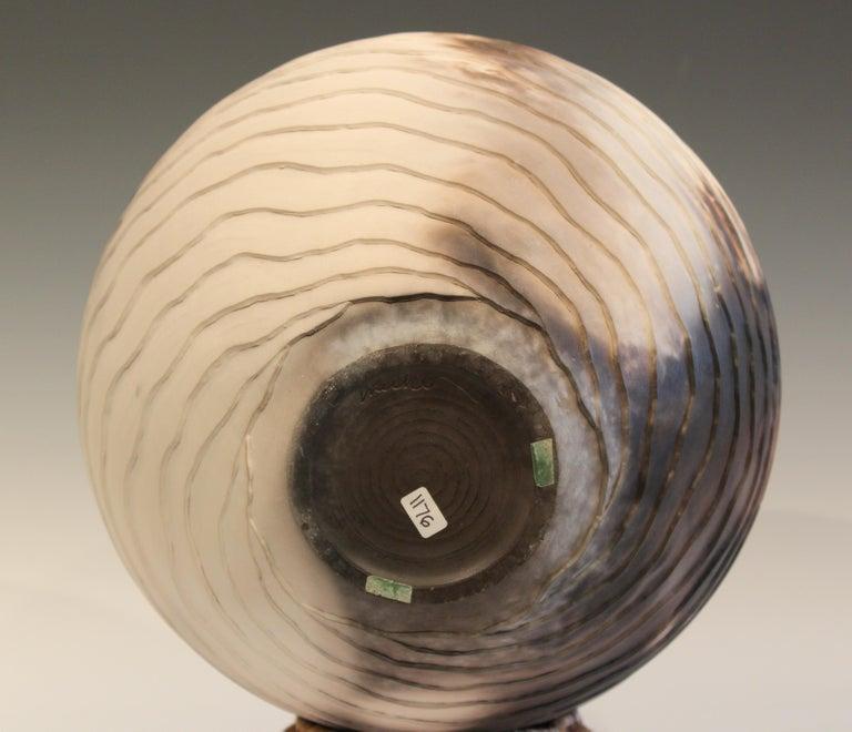 Late 20th Century Nancee Meeker Studio Pottery Large Raku Pit Fired Organic Ledges Vase Signed