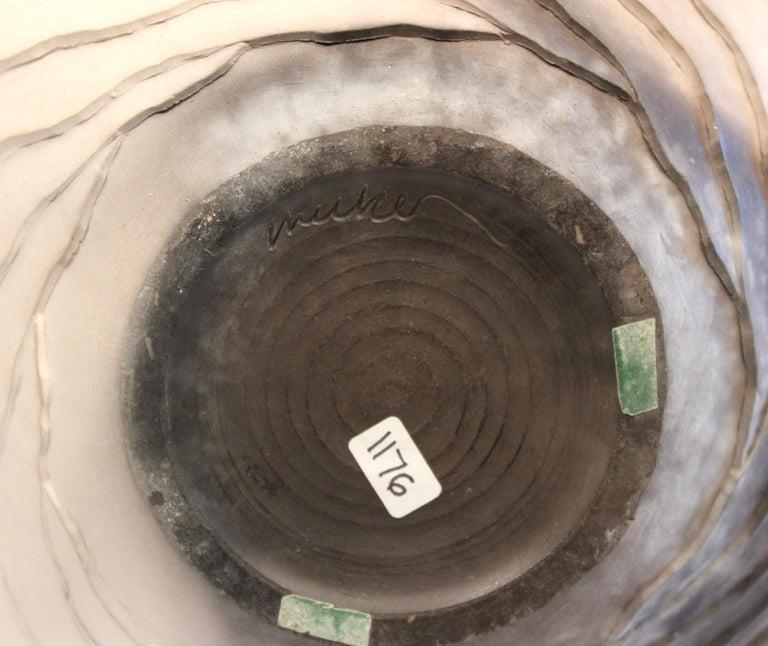 Nancee Meeker Studio Pottery Large Raku Pit Fired Organic Ledges Vase Signed 1