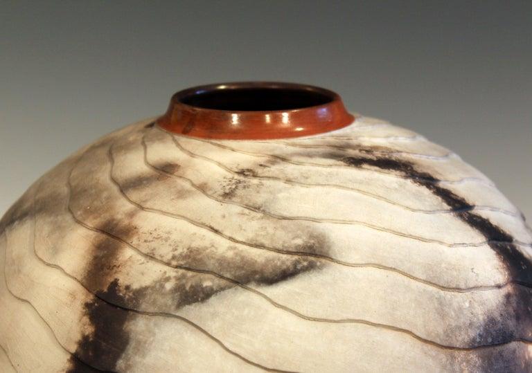 Nancee Meeker Studio Pottery Large Raku Pit Fired Organic Ledges Vase Signed 2