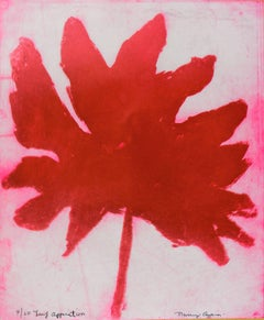 """""""Leaf Apparition"""", abstract plant-study aquatint and etching print, deep red."""
