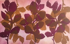 """""""Wild Witch Hazel 11"""", abstract aquatint print plant study, ochre and violet."""