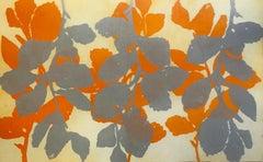"""Wild Witch Hazel 13"", abstract aquatint print plant study,  yellow, silver."