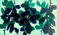 """Wild Witch Hazel 21"", abstract aquatint print plant study, green, deep blue."